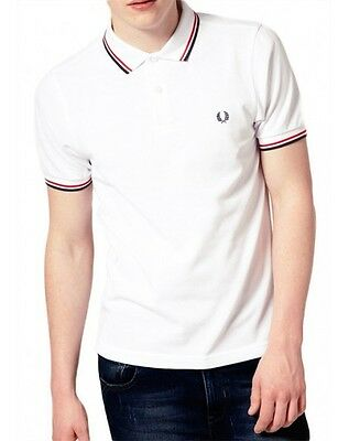 White Red Fred Perry Twin Tipped Short Sleeve Sport Polo Tee T Shirt