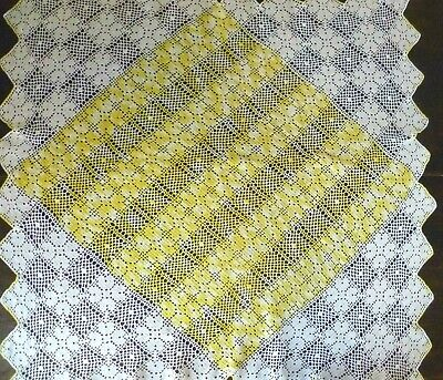 Vintage Hand Crocheted  Tablecloth White Cotton With Varigated Yellow Centre