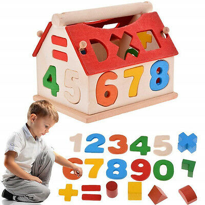 Cute Posting House Shape Sorter Wooden Number Toys Kids Educational Intellectual