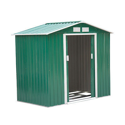 Outsunny 6x6ft Garden Shed Patio Foundation Storage Unit Metal Tool Box Green