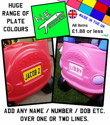 PERSONALISED Number Plate for ANY Little Tikes Cozy Coupe car kids ride on toy