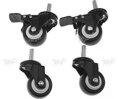 4 x PU Swivel with Brake Castor Wheel With Screw Trolley Furniture Caster 50mm