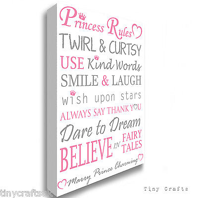 PRINCESS RULES- Grey/Pink Canvas Print Picture Wall Art Gift