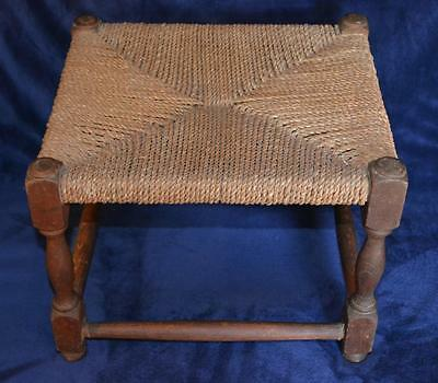 Antique Wood and String Strung Stool