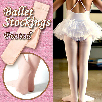 Children/girls ballet stockings/dance footed tights/pantyhose, pink,4 sizes new