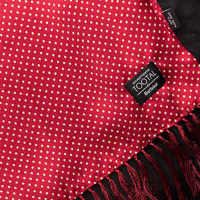 Barbour Tootal White Pin Dot Red Silk Scarf for Men