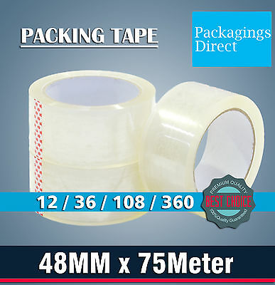 Packing Tape 48mm x 75m Clear Sticky Packaging Tapes 12 / 36 / 108