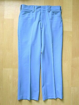 VGC Vtg 70s Sky Blue Textured Polyester Knit Disco Pimp Flare Pants 32W