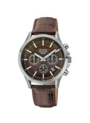 Brand New Pulsar Mens Chronograph Leather Strap Watch PT3067X1