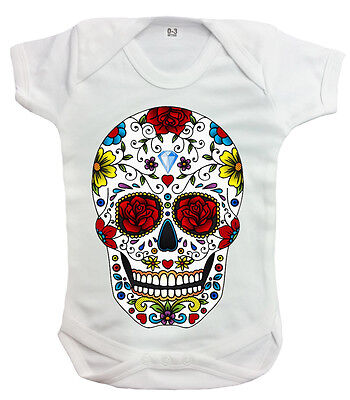 Candy Skull Rompers/Metal/Mexican Sugar Skull/Rock/Skeleton/Unisex/Baby Grow