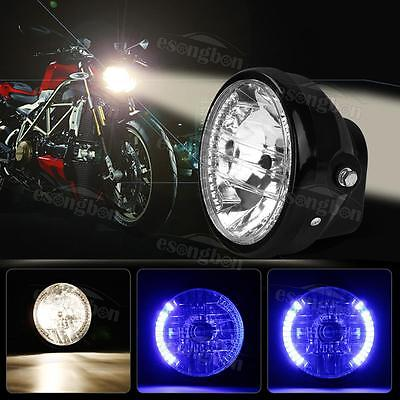 7inch Motorcycle Headlight Projector For Harley Bobber Dyna Blue LED Turn Signal