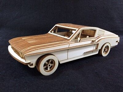 Laser Cut Wooden Ford Mustang 3D Model/Puzzle Kit