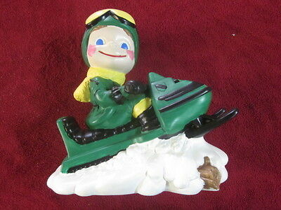 Vintage Hand Painted 70s Smiley Boy on John Deere Snowmobile Ceramic Ornament