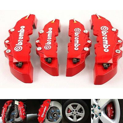 4pcs Kit Universal 3D Red Brembo Style Disc Brake Caliper Cover Front+Rear