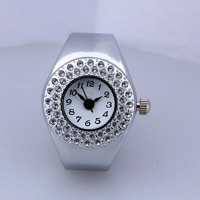Women Silver Alloy Quartz Movement Pocket Finger Ring Watch FlyP