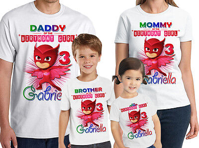 PJ Masks Birthday Shirt Custom Name and Age Owlette Personalized Shirt