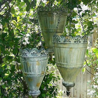 Antique Cottage Style Hanging Urn Garden Pots Set of 3