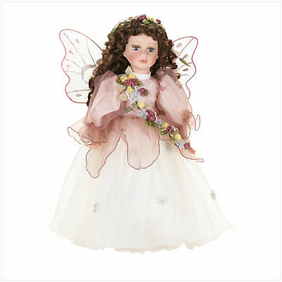 "37425 Fairy Wings Pink Dress 16"" Porcelain Doll Brown Hair Collectible Beauty"