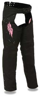 Women's Motorcycle Motorbike Textile Chap W/pink Embroidery Reflective Black New