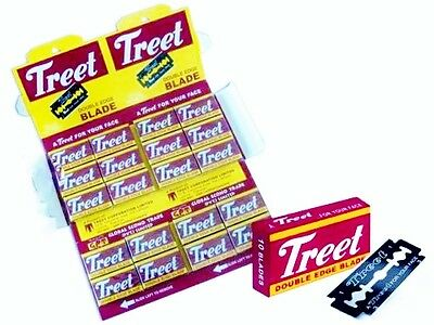 Treet Double Edge Razor Blades Carbon Steel lot of  10 Packs  total blades 100