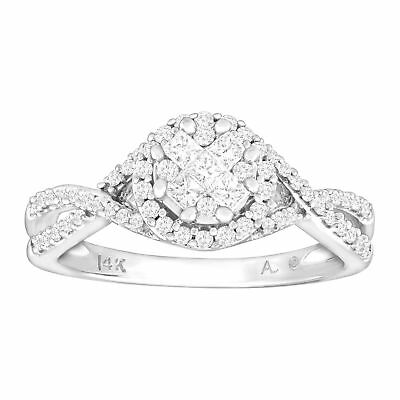 1/2 ct Diamond Engagement Ring in 14K White Gold