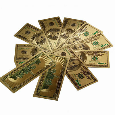 A Lot Of 100PCS US $100 Banknotes 24k Gold Plated Colorized American Dollar Bill