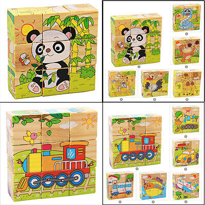 Children Cartoon 6 Sides Puzzle Blocks Colorful Educational Wooden Kids Toy Gift