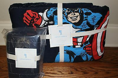 NWT Pottery Barn Kids Captain America twin quilt & euro sham