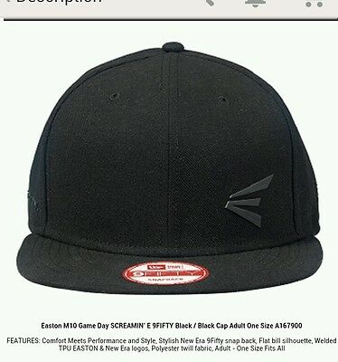 Easton M10 Game Day SCREAMIN' E 9FIFTY Black/ Black Cap Snapback A167900.NEW!