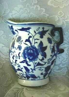 Unusual Collectible Large Cobalt Blue & White Pitcher Shaped Wall Pocket Vase