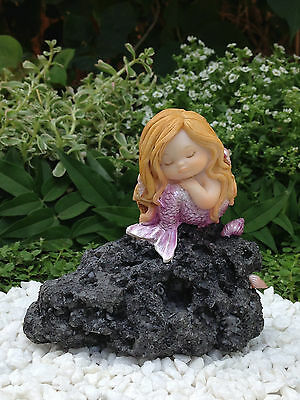 Miniature Figurine FAIRY GARDEN ~ Sleeping Little Mermaid in Thought on Rock NEW