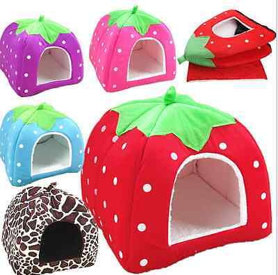 Strawberry Pet Igloo Dog Cat Bed House Kennel Doggy Fashion Cushion Basket SA