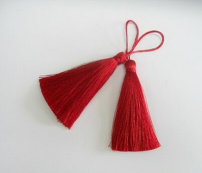 Red Long Tassel Silk Fringe Jewelry Making Pendant Curtain Sewing Embellishments