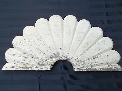 "Salvaged 22"" Mid 1800's Sunburst House Trim, Chippy White Paint, Free S/H"