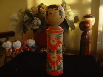 Unusual Vintage Japanese Hand Painted Traditional Kokeshi Nodder Doll