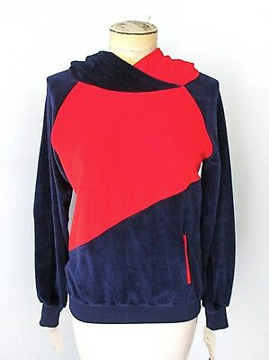 NOS Vtg 70s Mod Red Blue Color Block Velour Pullover Hoodie Sweatshirt Top Jr L