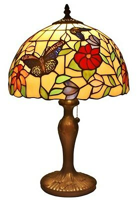 """AM061TL12 Tiffany Style Stained Glass Butterflies 1-Light Table Lamp W 12"""" Shade"""