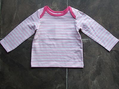 BNWT Baby Girl's Pink & White Striped Long Sleeve Cotton Top Size 0