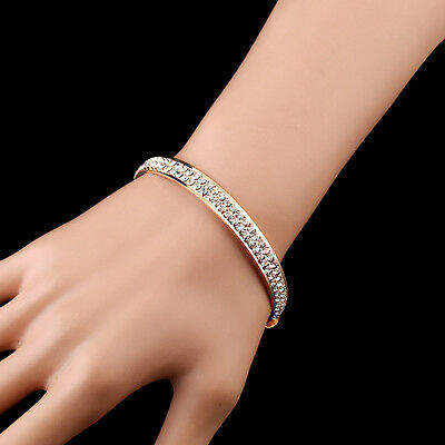 Luxurious Gold Silver Crystal Diamond Hand Chain Bangle Bracelet Jewelry Gift UK