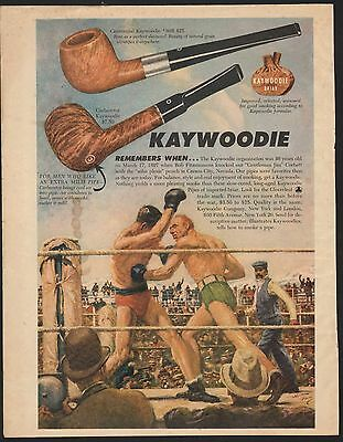 Full Color Vintage 1948 KAYWOODIE PIPES Print Ad Great Old Boxing Scene
