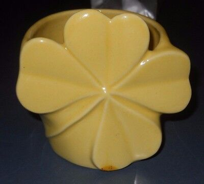 Vintage Yellow Wall Pocket Pottery Planter Four Leaf Clover Flat Clay Bottom