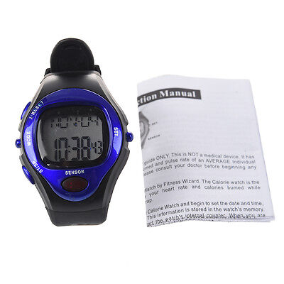 Blue Sport Exercise Stop Watch Calorie Counter Heart Rate Monitor FlyP