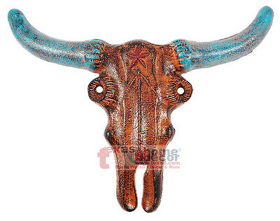 Heavy Duty Cast Iron Metal Longhorn Steer Rustic Western Star Rust Turquoise
