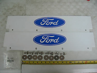 Pair of White Ford Logo Quarter Fender Top Mud Flap Includes: Mudflap & Hardware