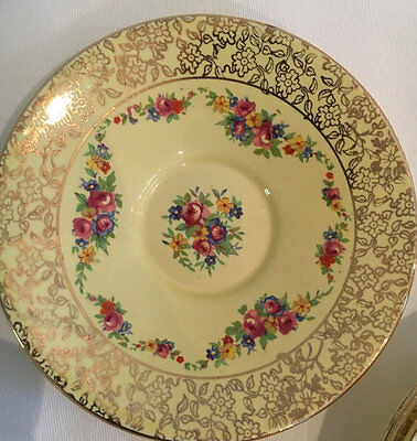 Royal Winton Grimwades Yellow Floral Saucer 4698 from 1930s