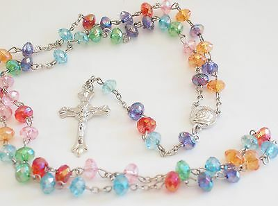 Rosary Necklace Catholic beads prayer Rosarie  XL long mix colors Silver Cross
