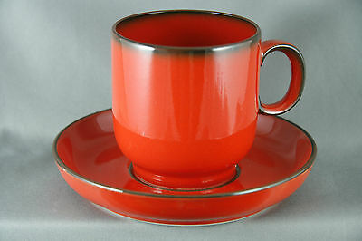 MCM Thomas China Coffee Cup Saucer Danish Gold Pattern Red Black