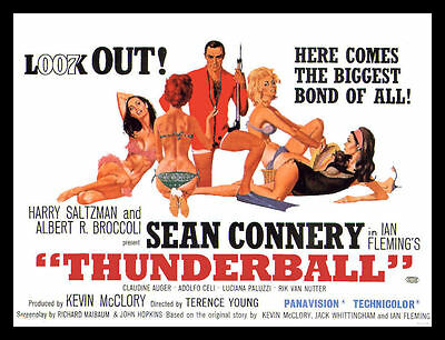 Thunderball James Bond 007 Magnetic Movie Poster FRIDGE MAGNET 6x8