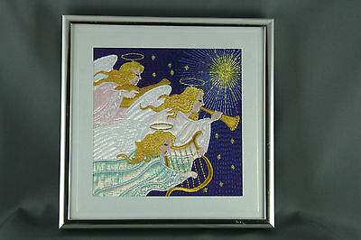 Embroidered Christmas ArchAngels Framed Picture 5x5 Silver Tone Frame UV Glass