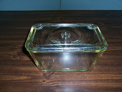 Vintage Glasbake Loaf / Bread Dish- Clear- Clear Glass Lid /Indented Knob Handle